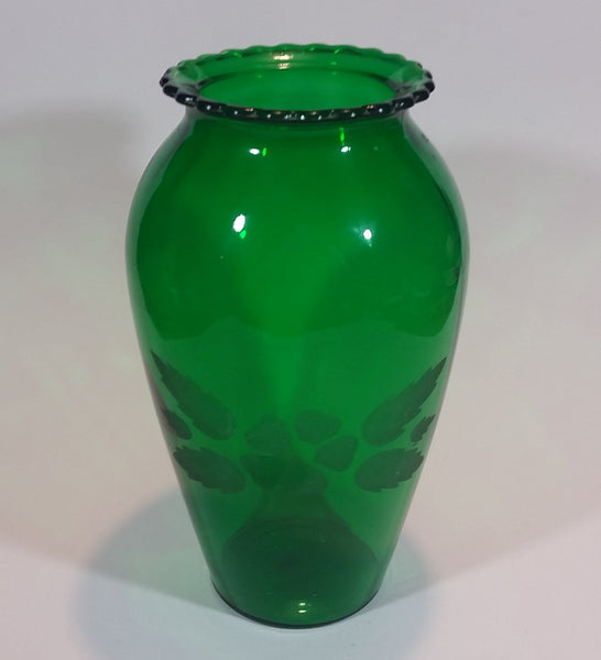 Vintage 1950s Anchor Hocking Emerald Green Etched Flower and Leaves Glass Vase - Treasure Valley Antiques & Collectibles
