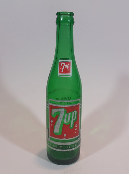 "Vintage 1960s 7up 10 oz Green Glass 9 1/2"" Soda Pop Bottle - Treasure Valley Antiques & Collectibles"