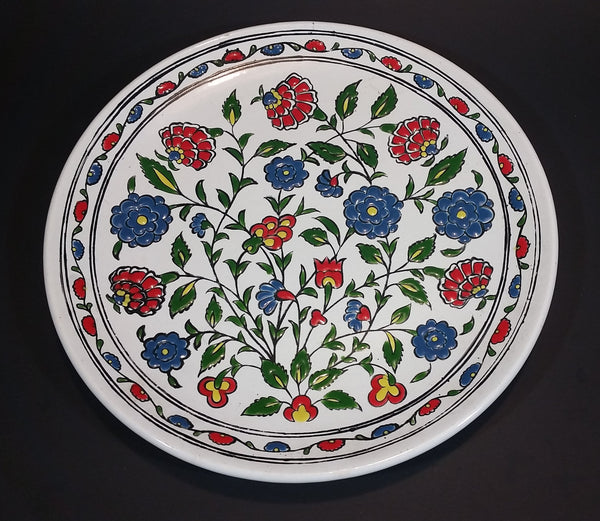"Vintage 1970s Hand Made By Dakas Ceramic faliraki Archagelos Rhodes Greece Decorative Flower Pattern 9 3/4"" Plate - Treasure Valley Antiques & Collectibles"
