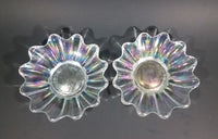 "Set of 2 - 1950s Fostoria Carnival Glass Company - Ohio - Clear Rainbow Iridescent Scalloped Celestial Pattern 5 3/4"" Plates - Treasure Valley Antiques & Collectibles"