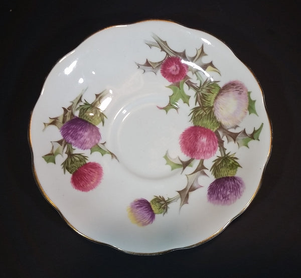 "1950s Queen Anne Fine Bone China England Scottish ""Dundee Thistle"" Pink and Purple Floral Teacup Saucer"