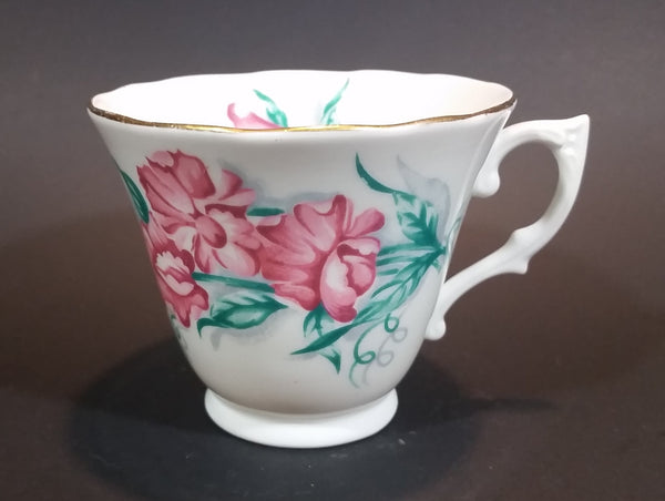1945-1948 Colclough Bone China Pink Flowers Gold Rimmed Teacup - Made in England - Treasure Valley Antiques & Collectibles