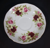 1959-1964 Queen Anne Bone China England Pink Roses and Yellow Wild Roses Pattern Gold Trim Teacup Saucer