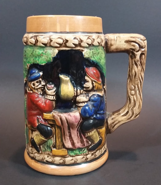 1950s Gift Craft Japan Bavarian Friends Sharing a Pitcher of Beer Porcelain Stein Numbered 384 - Treasure Valley Antiques & Collectibles