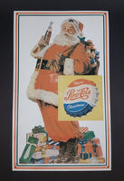 Vintage 1970s Pepsi Cola Merry Christmas Santa Claus with Gifts Lithograph Tin Sign - Treasure Valley Antiques & Collectibles