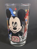 "1980s Anchor Hocking Disney Mickey Mouse Minnie Mouse Donald Duck Clear Glass 4 1/2"" Juice Cup"