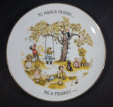"1973 Holly Hobbie Table Talk ""To have a friend..."" ""Be a friend!"" 8 ""Plate, 6"" Bowl, and 3 1/8"" Cup 3 Piece Set - Treasure Valley Antiques & Collectibles"