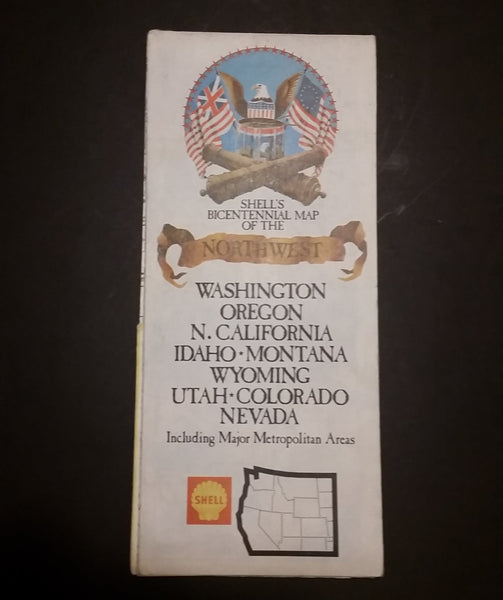 1976 Shell's Bicentennial Map of the Northwest Washington, Oregon N. Cali, Idaho, Montana, Wyoming, Utah, Colorado, Nevada - Treasure Valley Antiques & Collectibles