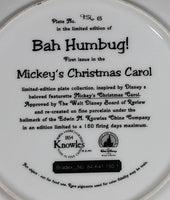 "1993 Knowles Walt Disney ""Bah Humbug!"" ""Mickey's Christmas Carol"" Limited Edition Collector Plate"