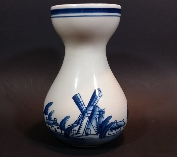Vintage Delft Blue Windmills, Dutch Village, and Sailboats Ship Handpainted Ceramic Flower Vase - Treasure Valley Antiques & Collectibles