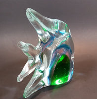 1970s Murano Italian Art Glass Clear Tropical Angelfish Paperweight with Green, Pink, and Blue Eye - Treasure Valley Antiques & Collectibles