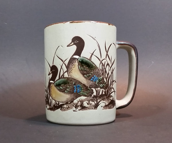 Vintage 1970s Otagiri Japan Mallard Ducks in Marshland and Flying Mug with Brown Trim - Treasure Valley Antiques & Collectibles