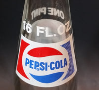 Vintage 1977 Pepsi-Cola Pepsi One Pint 16 Fl oz 473mL Clear Glass Money Back Bottle - LS 77 239 - Treasure Valley Antiques & Collectibles