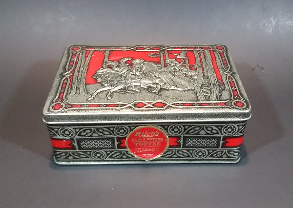 1950s Riley's Rum & Butter Toffee Medieval Hunting Scene Embossed Red Tin with Original Sticker - Treasure Valley Antiques & Collectibles