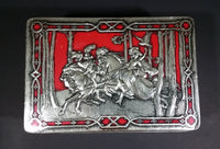 1950s Riley's Rum & Butter Toffee Medieval Hunting Scene Embossed Red Tin with Original Sticker