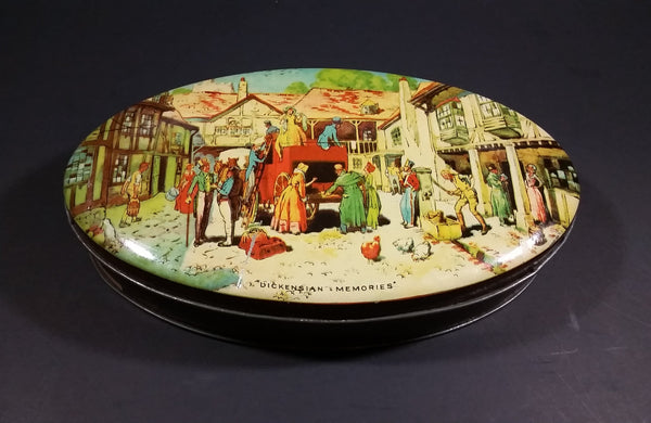 "Vintage 1950s Riley's Toffee ""Dickensian Memories"" Village Scene Tin - E.I & co. ltd Shipley England - Treasure Valley Antiques & Collectibles"