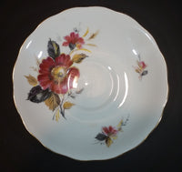 1959-1964 Queen Anne Bone China Ridgway Potteries England Red Yellow Floral Pattern Teacup Saucer
