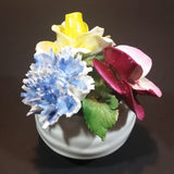 1950s Radnor Bone China Mixed Floral Magenta Blue Yellow Bone China Bouquet