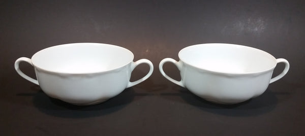 c. 1970 Hutschenreuther Germany Selb Bavaria White Double Handled Porcelain Soup Bowls - Set of 2 - Treasure Valley Antiques & Collectibles