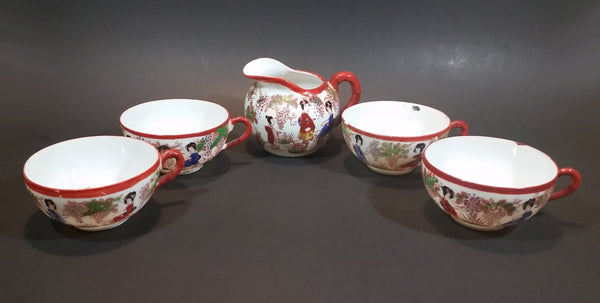 1920s or 1930s Kutani Japan Egg Shell Porcelain Hand Painted Scenery of Japanese Women Creamer and 4 Tea Cup Set - Treasure Valley Antiques & Collectibles