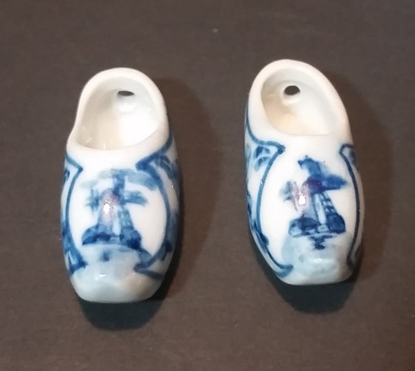 Vintage Delft Blue Handpainted Holland Windmill Shoe Set - Treasure Valley Antiques & Collectibles