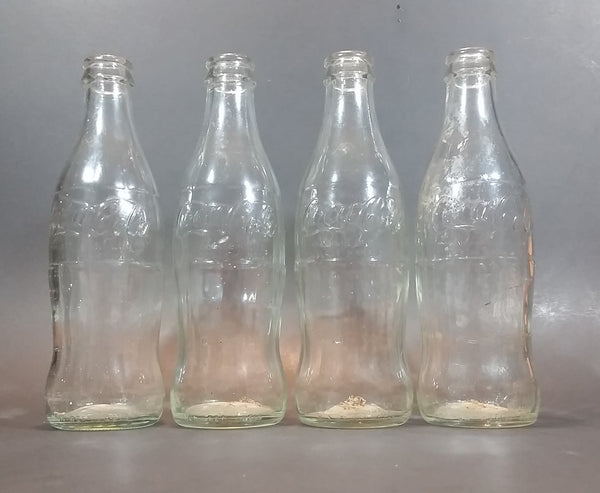 1960s Coca-Cola Coke Soda Pop Non-Refillable Clear Glass Bottles - Set of 4
