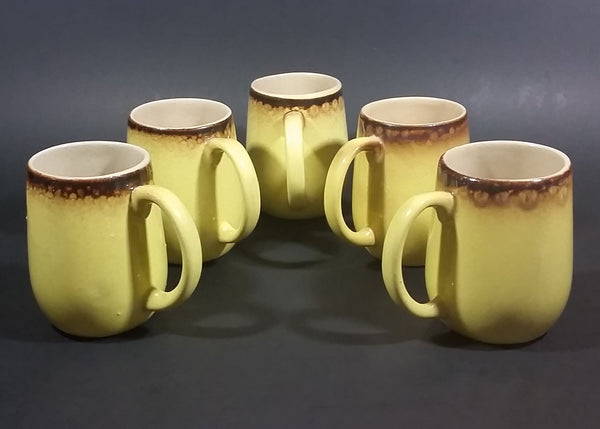 c. 1966 Medalta Redcliff, Alberta Yellow with Brown Trim Stoneware Pottery Mug Set of 5 - Treasure Valley Antiques & Collectibles