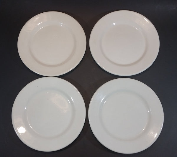 "Rare Set of 4 White Medalta Hotel China 9 1/4"" Plates  (3x 1937-1943) (1x Vitrified 1937-1949) - Treasure Valley Antiques & Collectibles"