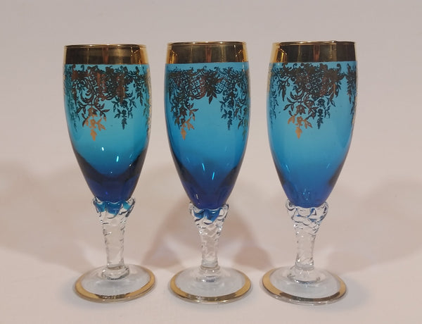 Stunning Vintage Set of 3 Blue with Gold Overlay Italian Colored Glass Champagne Glasses - Stemware - Treasure Valley Antiques & Collectibles