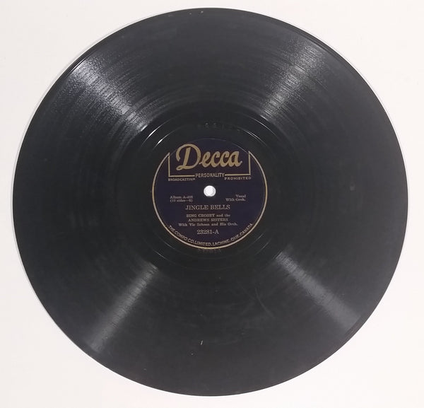 "1943 Bing Crosby And The Andrews Sisters ""Jingle Bells"" & ""Santa Claus Is Comin' To Town"" 10"" 78RPM Record"