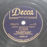 "1943 Bing Crosby And The Andrews Sisters ""Jingle Bells"" & ""Santa Claus Is Comin' To Town"" 10"" 78RPM Record - Treasure Valley Antiques & Collectibles"