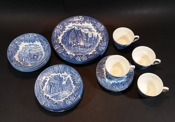 "1970-1973 Staffordshire ""English Ironstone Tableware Limited"" Dickens Blue 20 Piece Dinnerware Set - Treasure Valley Antiques & Collectibles"