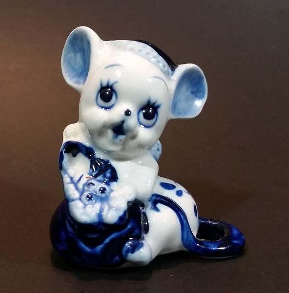 Vintage 1970s Enesco Delft Blue Style Handpainted Floral Decorated Cute Mouse Figurine - Treasure Valley Antiques & Collectibles