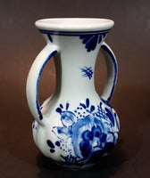 "Vintage Delfts Blauw Hand Painted Blue and White Flower Decor Double Handled 4"" Vase - Treasure Valley Antiques & Collectibles"
