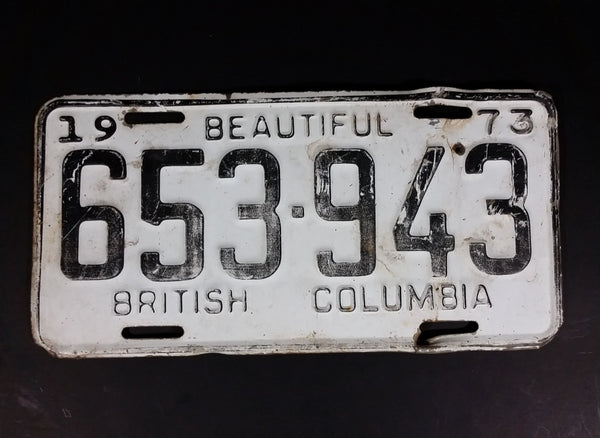 Vintage 1973 Beautiful British Columbia White with Black Letters Vehicle License Plate - Treasure Valley Antiques & Collectibles