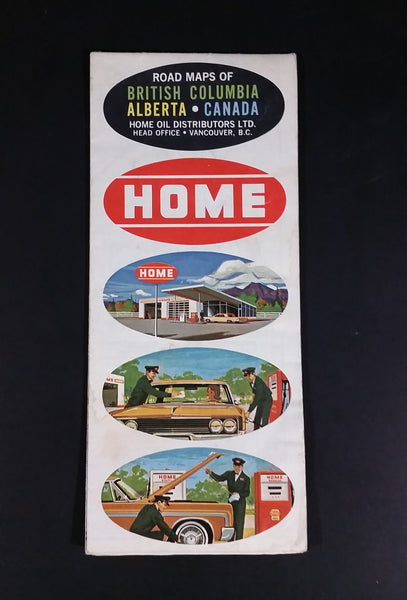 1965 Home Oil Distributors Vancouver Road Maps of British Columbia Alberta and Canada - Treasure Valley Antiques & Collectibles