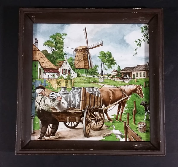 1980s Royal Mosa Ter Steege bv Dutch Milk Dairy Farmer Loading Milk on Horse Drawn Cart Framed Tile