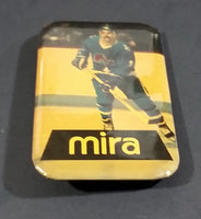 Early 1980s Michel Goulet Quebec Nordiques NHL Hockey Mira Rectangular Pin - Treasure Valley Antiques & Collectibles