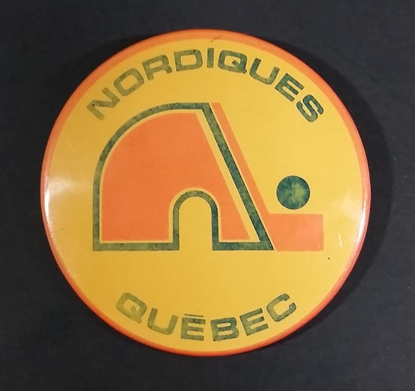 Vintage 1970s Quebec Nordiques NHL Hockey Button Pin - Treasure Valley Antiques & Collectibles