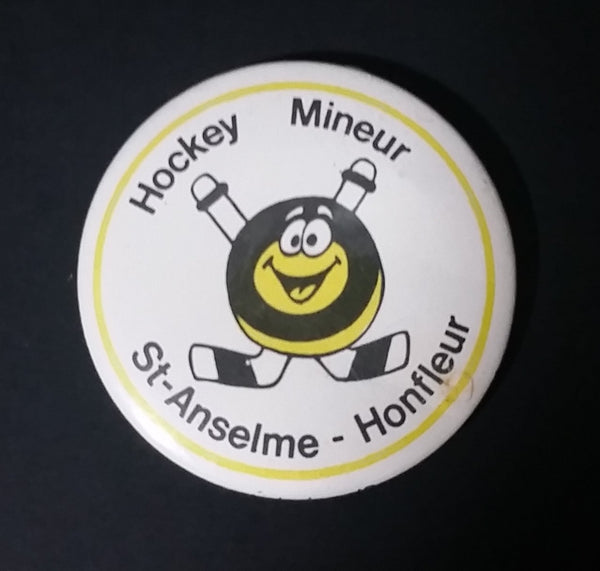 1980s Saint Anselme - Honfleur Quebec Minor Hockey Puck Character Button Pin - Treasure Valley Antiques & Collectibles