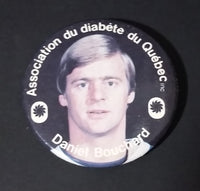 1980s Daniel Bouchard Quebec Nordiques NHL Hockey Diabetes Association of Quebec Button Pin - Treasure Valley Antiques & Collectibles
