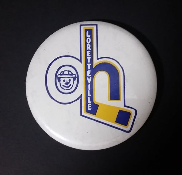 1980s Loretteville Hockey Quebec Canada Blue and Yellow Button Pin - Treasure Valley Antiques & Collectibles