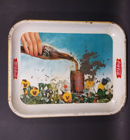 1961 Drink Coca-Cola Coke Pansy Flowers Hand Pouring Coca-Cola From Bottle Serving Tray - Treasure Valley Antiques & Collectibles