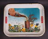 1961 Drink Coca-Cola Coke Pansy Flowers Hand Pouring Coca-Cola From Bottle Serving Tray