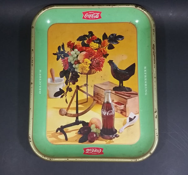 Vintage 1957 Coca-Cola Coke Soda Pop Rooster with Green Border Beverage Serving Tray - Treasure Valley Antiques & Collectibles