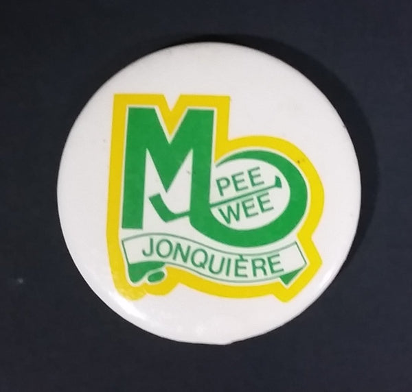 1980s Jonquiere Quebec Canada Pee Wee Hockey Green and Yellow Round Button Pin - Treasure Valley Antiques & Collectibles