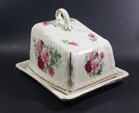Antique Staffordshire England Pink Roses Flower Decorated Large Cheese Keeper - Treasure Valley Antiques & Collectibles