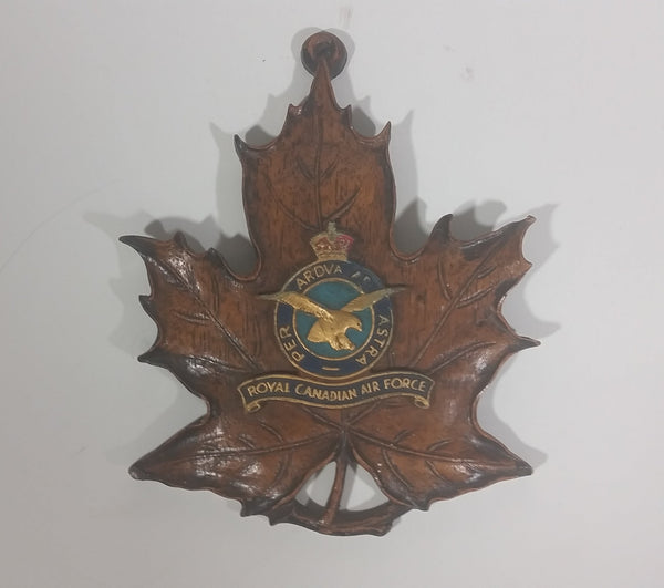 Vintage R.C.A.F. Royal Canadian Air Force Genuine Durwood Leaf Wall Hanging - Treasure Valley Antiques & Collectibles