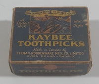 Rare Vintage Kaybee unique flat-style toothpicks Box - Keenan Woodenware - Box is Full - Treasure Valley Antiques & Collectibles