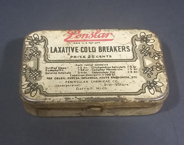 Vintage Penslar Laxative Cold Breakers Tablets Tin - Empty - Treasure Valley Antiques & Collectibles